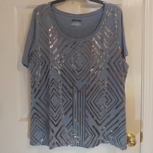 Gray-Blue Tee with Shiny Design